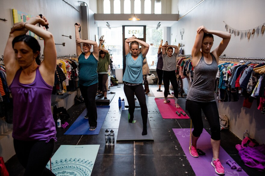 Students are taught a number of exercises in Leah Keller's class aimed at new moms in San Francisco.