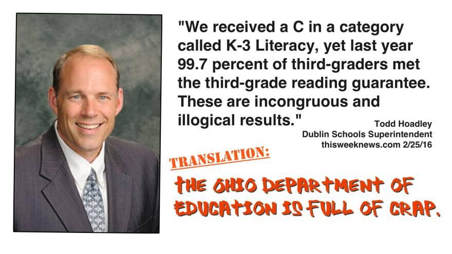 Photo of a Facebook meme surrounding Ohio's new school report cards