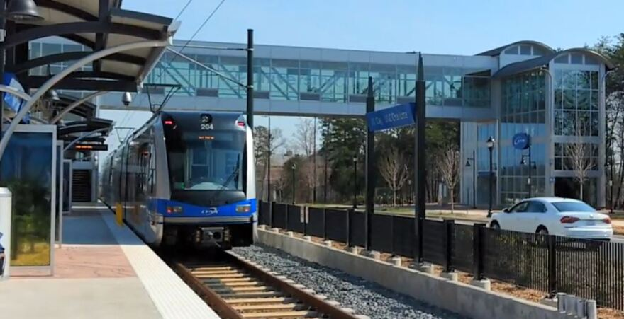 A LYNX Blue Line train pulls away from J.W. Clay Station on North Tryon Street in this 2018 file photo.