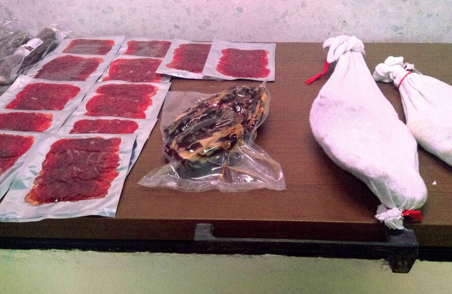 Halal <em>jamón </em><em></em>products made with lamb and beef inside the Balkis Gourmet curing room in Cumbres Mayores in Andalusia, Spain.