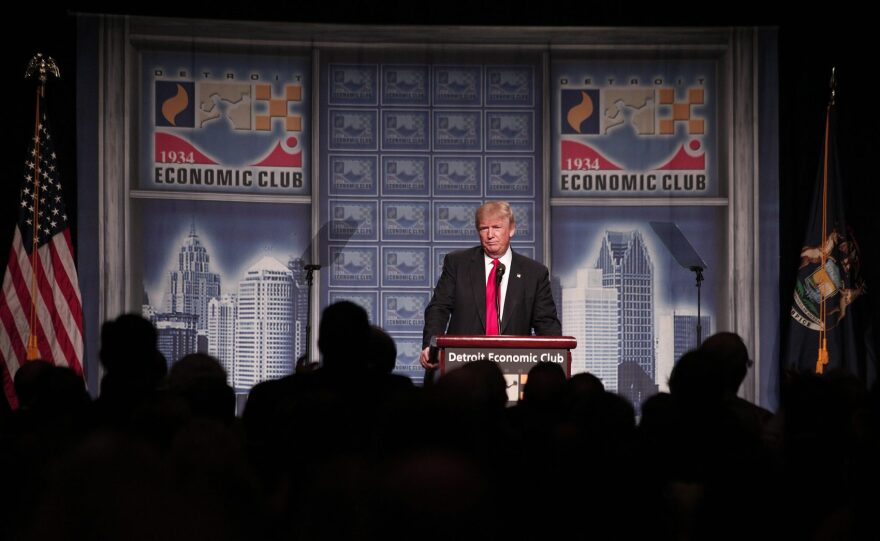 Republican presidential candidate Donald Trump delivers an economic policy address detailing his economic plan at the Detroit Economic Club on Aug. 8, 2016 in Detroit Michigan. (Bill Pugliano/Getty Images)