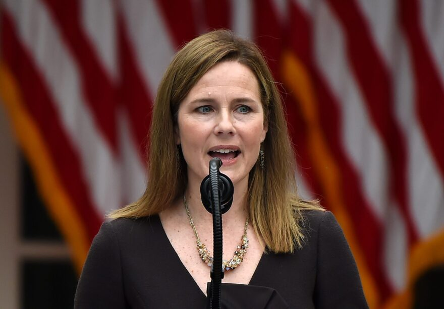 Judge Amy Coney Barrett speaks as she is nominated to the US Supreme Court by President Donald Trump in the Rose Garden of the White House.