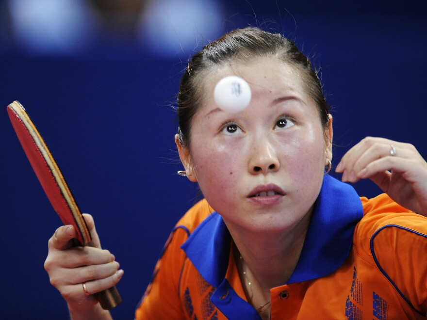 Li Jie, pictured in 2009, was one of two elite players in a rally that lasted more than 10 minutes at the Qatar Open table tennis tournament.