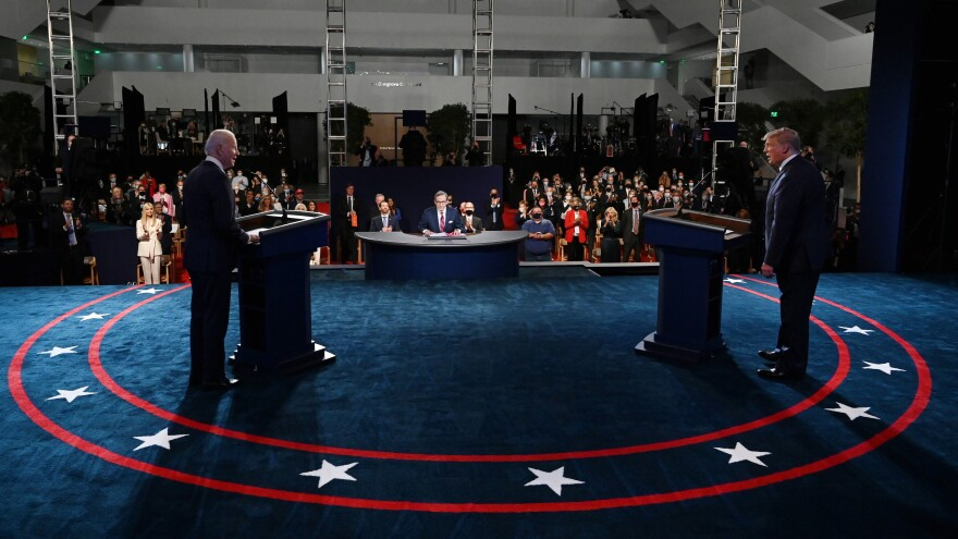 President Donald Trump and former Vice President Joe Biden participate in the first presidential debate on Sept. 29. The Debate Commission has established new rules for Thursday's debate, including plans to mute a candidate's mic when the other is giving an opening statement.