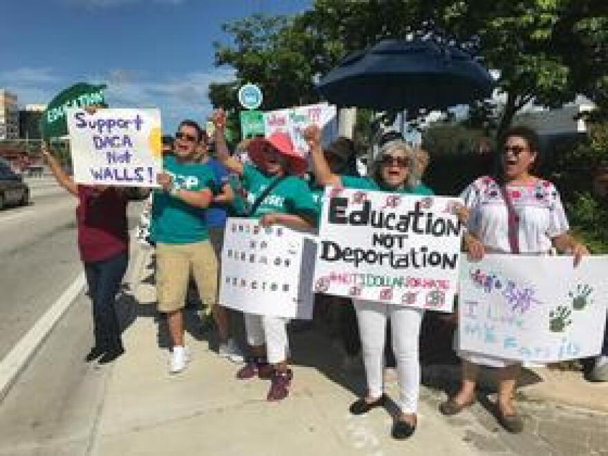 DACA supporters rally in Miami this year.
