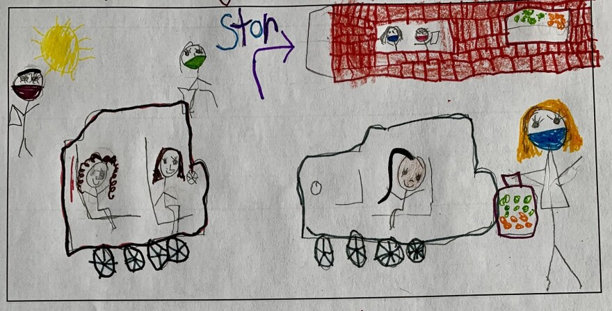 Madhu, age 5, draws a picture of how her mom goes grocery shopping during the pandemic.