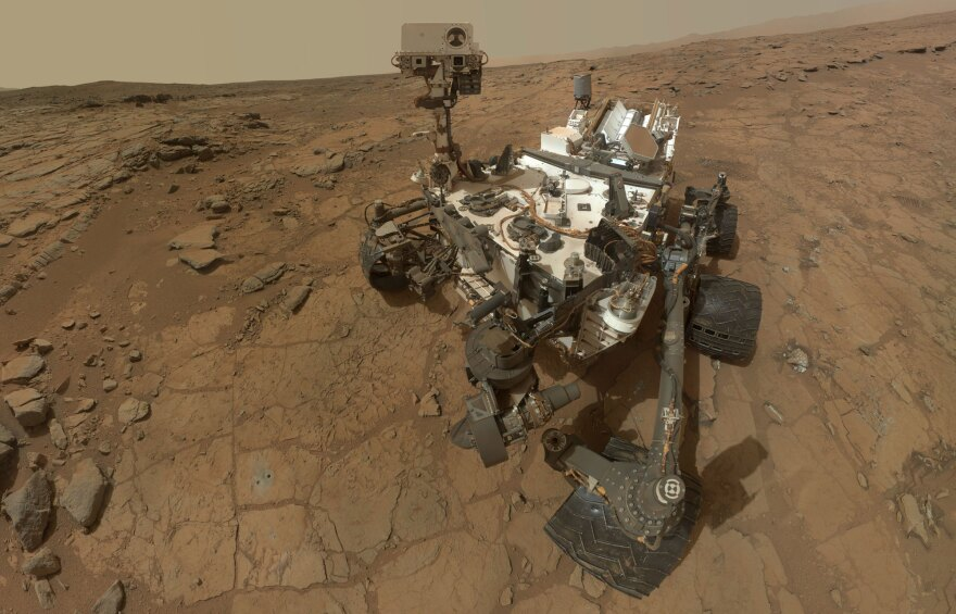 This self-portrait of NASA's Mars rover Curiosity combines dozens of exposures taken by the rover's Mars Hand Lens Imager during the 177th Martian day, or sol, of Curiosity's work on Mars, plus three exposures taken during Sol 270 to update the appearance of part of the ground beside the rover.