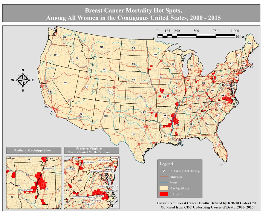 Breast cancer mortality hot spots, among all women in the contiguous United States, 2000-2015.