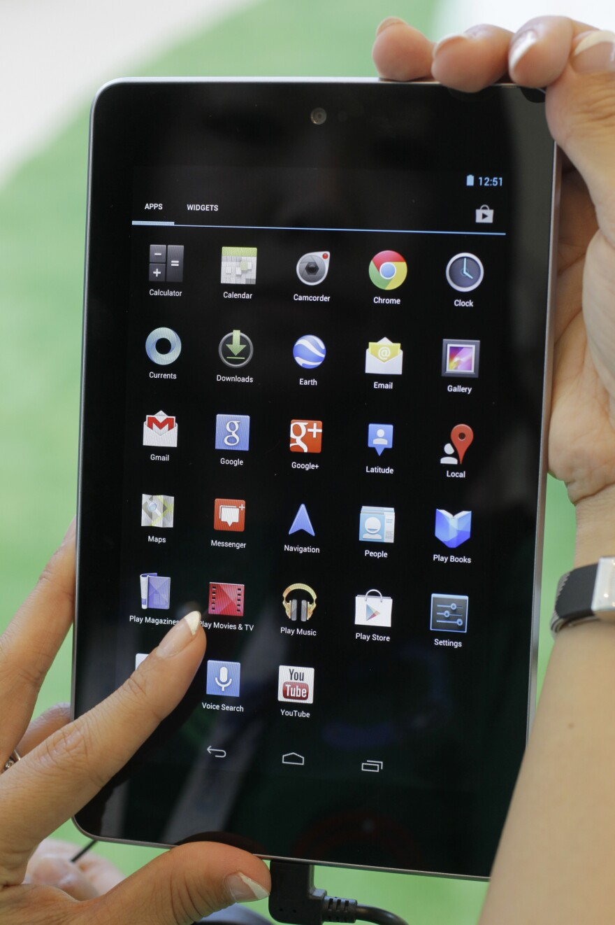The new Google Nexus 7 tablet is shown at the Google I/O conference in San Francisco, in June.