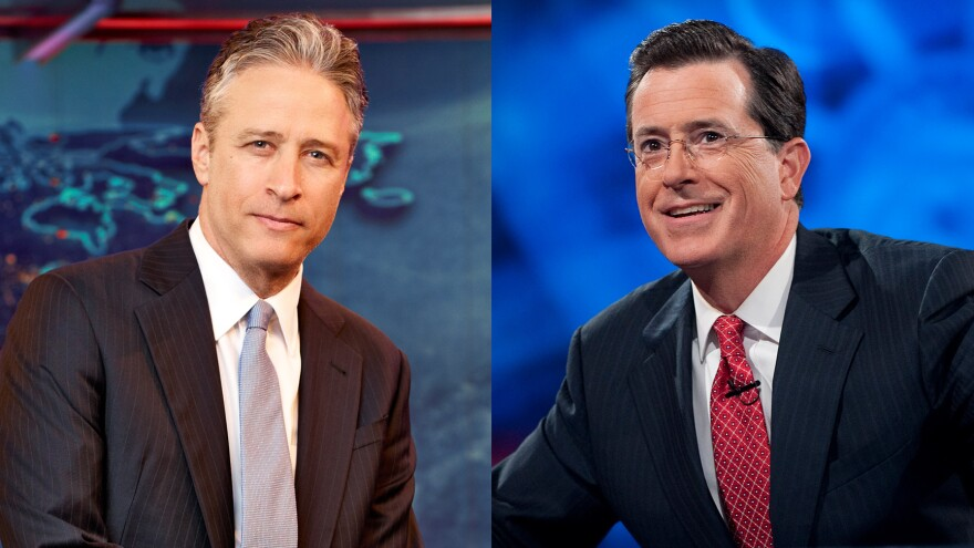 Jon Stewart (from left) and Stephen Colbert hosted live editions of their programs, <em>The Daily Show</em> and <em>The Colbert Report,</em> on Tuesday.