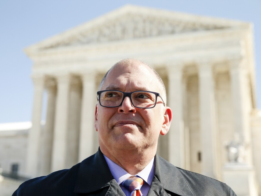 "Jim Obergefell in front of the Supreme Court last month. ""We did not set out to be activists,"" Obergefell says. ""We did not set out to become a named plaintiff at the Supreme Court, nothing at all like that. We just simply wanted respect."""