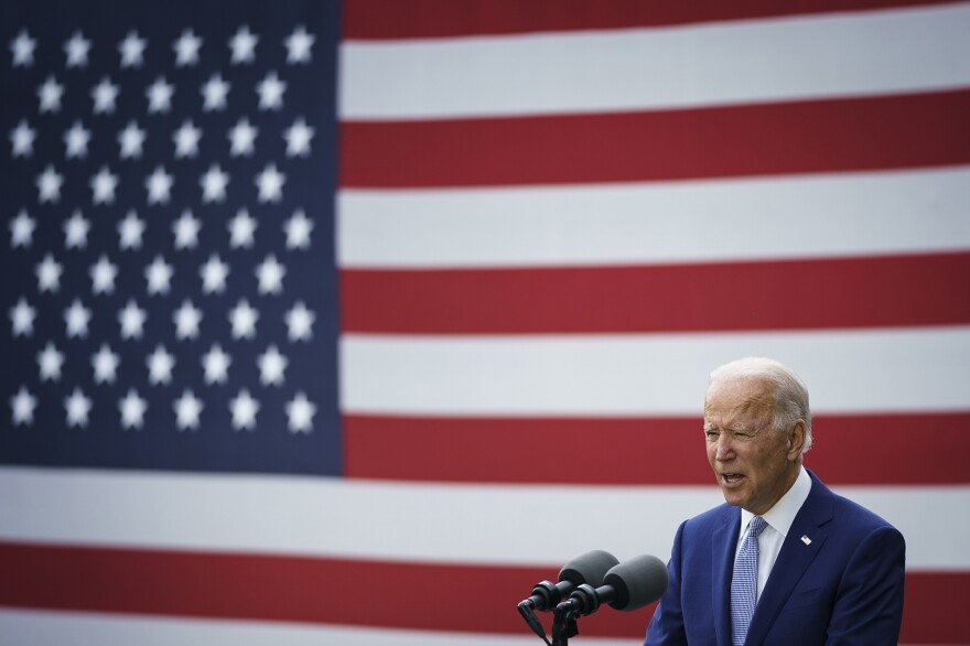 Democratic presidential nominee Joe Biden speaks during a campaign event at the Mountain Top Inn and Resort on October 27, 2020 in Warm Springs, Georgia.