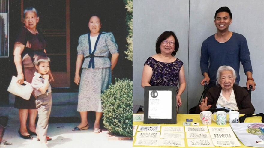 "Left: Crescenciana ""Lola"" Tan with grandson Kenneth and daughter Olivia at their home in San Jose, Calif., in 1990. Right: the family in Oakland, Calif., in 2016."