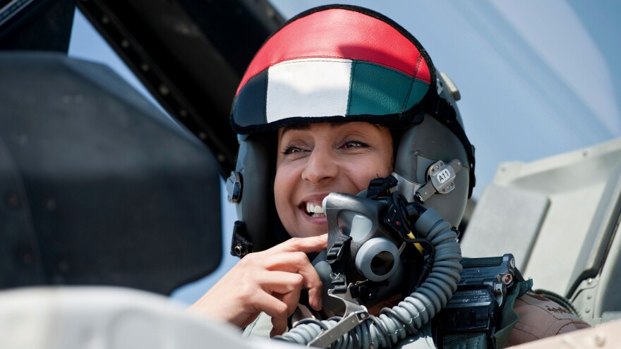 Maj. Mariam Al Mansouri, the first Emirati female fighter pilot, flew in the first UAE airstrikes in the American-led campaign against ISIS.