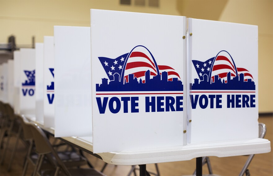 Voting stations at Central Baptist Church in St. Louis on March 10, 2020.