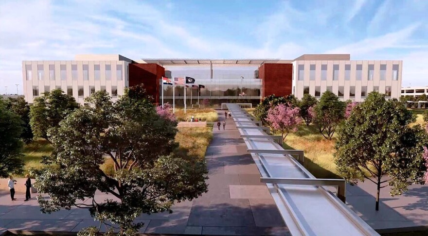 Drawings by a joint venture between McCarthy Building Companies and HITT Contracting show the entrance to the National Geospatial-Intelligence Agency's new western headquarters in north St. Louis.