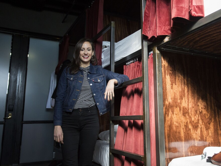 Leigh Salinas at Austin's Native Hostel, the venue for the ATXelerator program's opening weekend retreat.