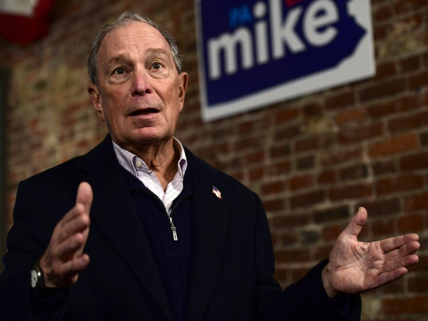 Democratic presidential candidate Michael Bloomberg confirmed a report on Tuesday that calls on behalf of his campaign were being made by prison workers. He is seen here campaigning in Philadelphia on Saturday.
