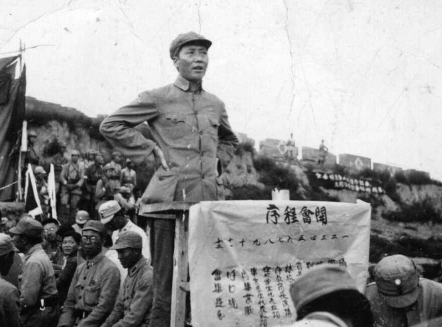 Mao addresses a crowd at Kangdah Cave University in 1939, calling for stronger resistance against the Imperial Japanese Army. The speech was delivered during the Second Sino-Japanese War (1937-1945), fought primarily between the Republic of China and the invading Empire of Japan.