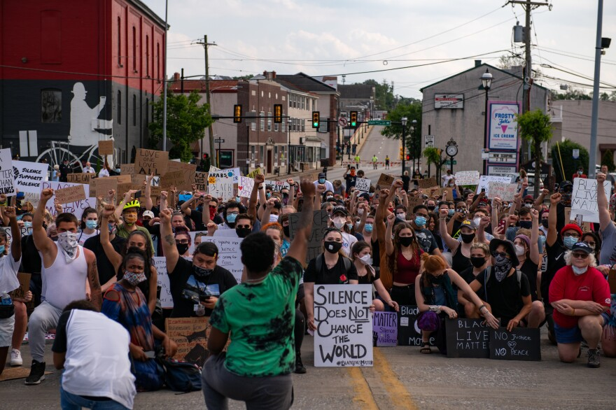 Protestors against police violence gather in Bridgeport, Pa., as they prepare to march across a bridge to neighboring Norristown, Pa. on June 3.