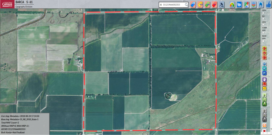 Census Bureau workers used this 2010 satellite image taken over Nebraska's Clarksville Township to set a baseline to compare with more recent photos.