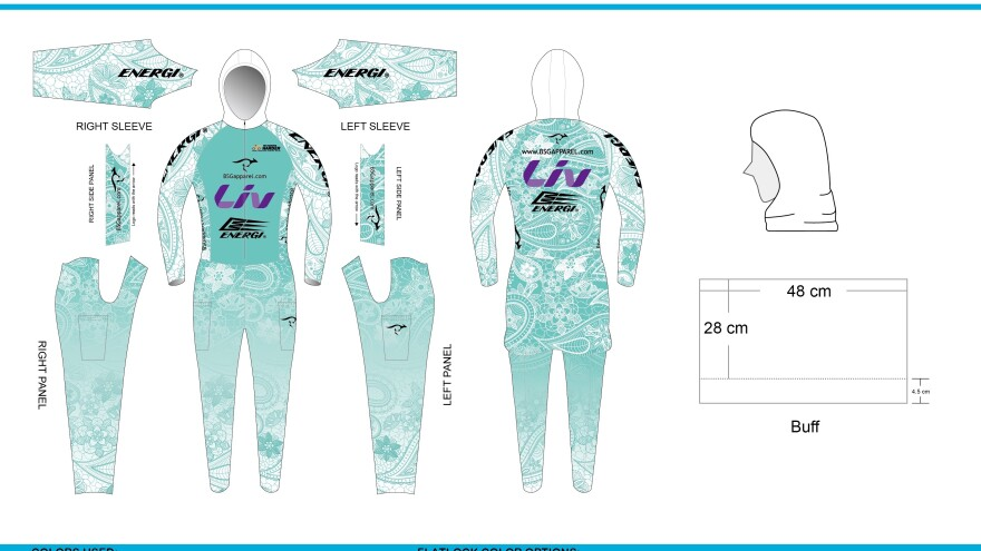The final design for Gerami's triathlon garb, which she'll wear during the Ironman event in Hawaii.