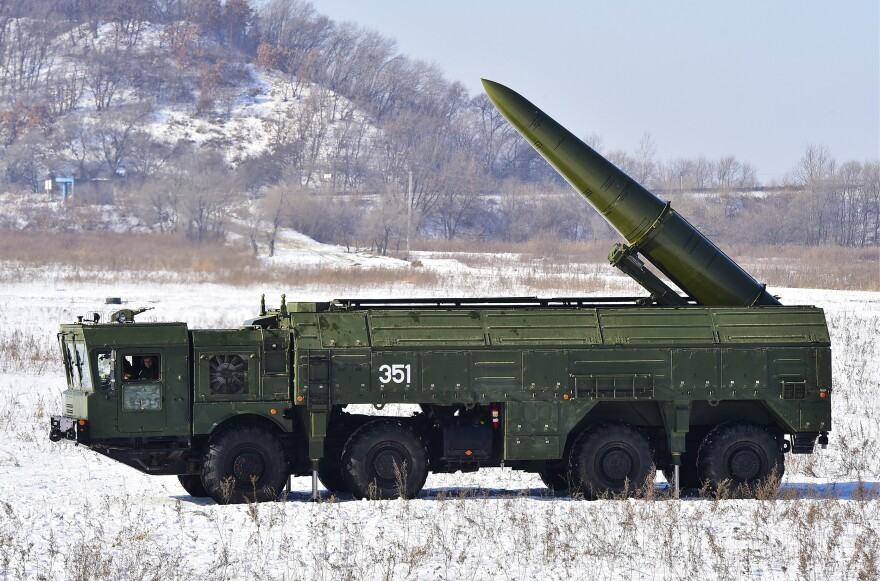 Russia's new Iskander system can be armed with nuclear warheads and can fire either ballistic (pictured) or cruise missiles. The Iskander-M missile launcher was used during a military exercise last month by the Russian Eastern Military District's 5th army at a firing range in Ussuriysk, Russia.