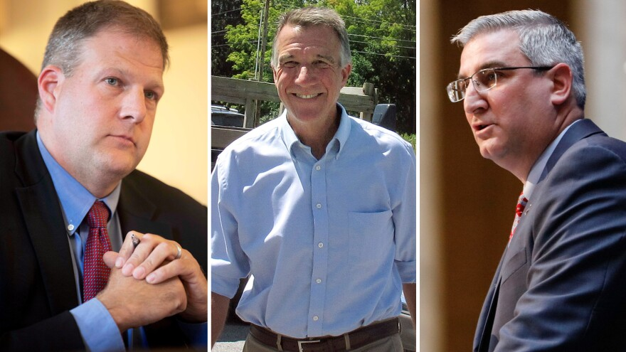 (Left to right) Executive Councilor Chris Sununu, Republican gubernatorial hopeful Lt. Gov. Phil Scott, and Indiana Lt. Gov. Eric Holcomb.