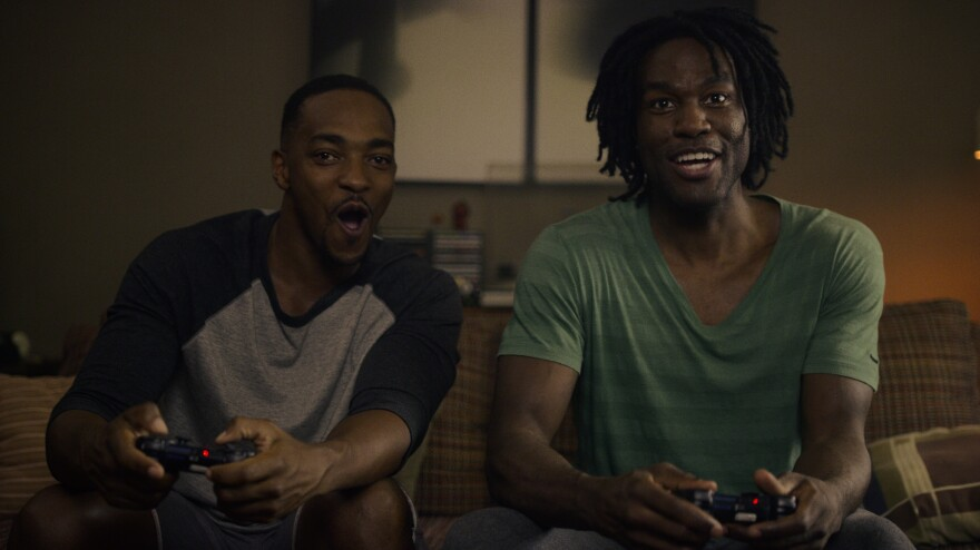 In the first episode of <em>Black Mirror </em>Season 5, Anthony Mackie (left) and Yahya Abdul-Mateen II play two estranged college friends who reunite later in life over a virtual reality video game.