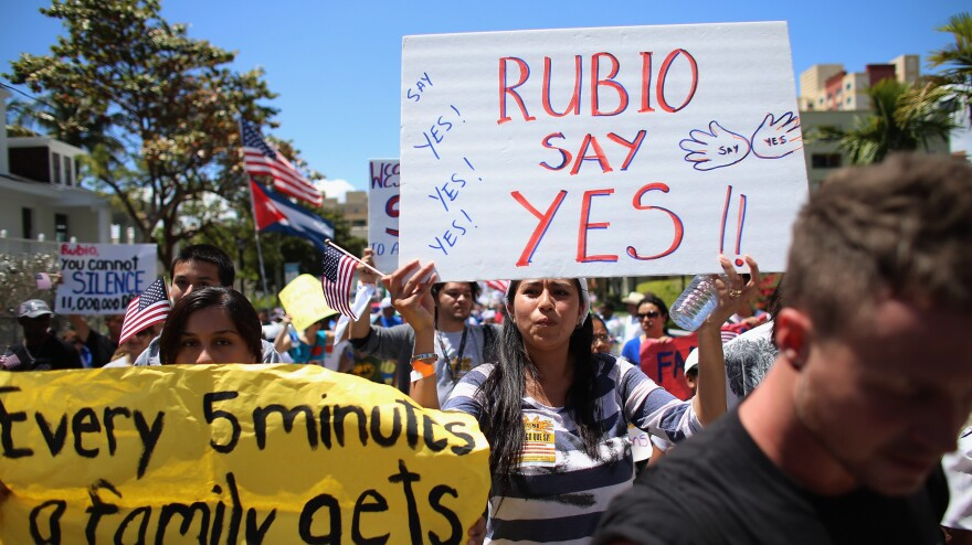 Protesters march last week in Miami, in support of immigration overhaul legislation. The marchers were calling for a new immigration system with a path to citizenship for 11 million people currently in the country illegally.