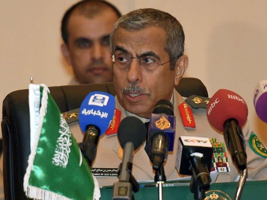 Saudi Arabia's chief of staff, General Abdulrahman al-Bunyan, holds a news conference in 2016. He was one of a handful of top military brass to lose his job.