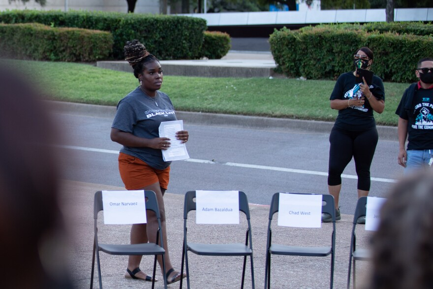 Faith in Texas community organizer Tiara Cooper wants the Dallas City Council to invest in her community. She thinks the first step is defunding the police. In the photo, she's hosting an event called 'The People's Townhall.' Members of the Council were invited and none attended.
