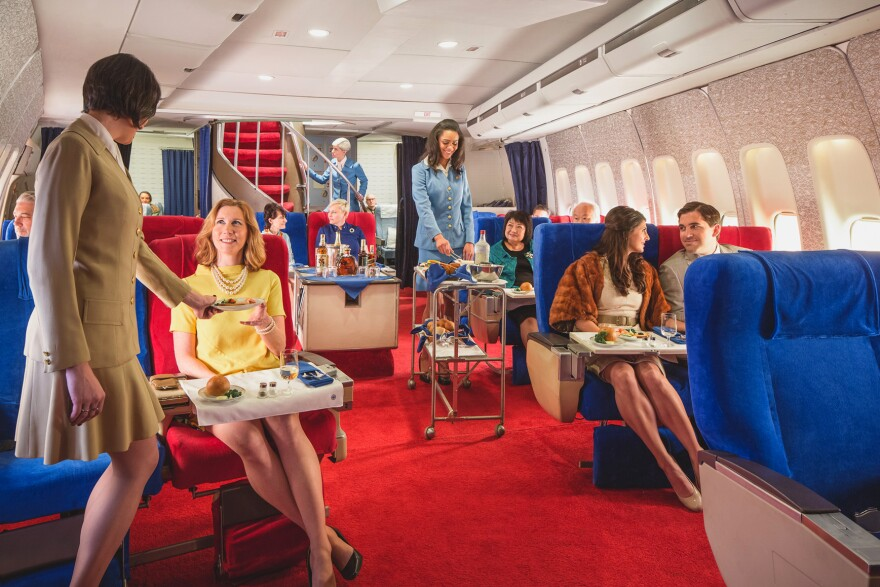 <strong>Break out the polyester:</strong> For a price, you can go back in time on an L.A. sound set and enjoy a meal in the style of an international Pan Am flight in the 1970s, complete with linens and china.