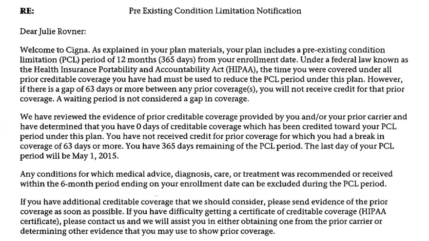 A second letter from Cigna to Julie Rovner provides proof of her past health coverage.