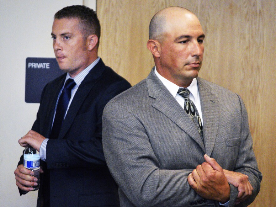 Albuquerque police officers Dominique Perez (left) and Keith Sandy, whose shooting of James Boyd sparked protest in the city.