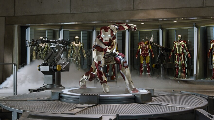 <strong>Window Dressing:</strong> Tony Stark's ongoing Iron Man research involves more than one suit of self-assembling armor.