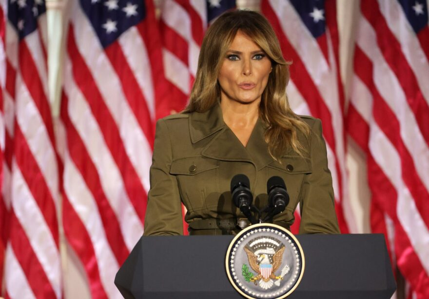 First lady Melania Trump addresses the Republican National Convention from the Rose Garden at the White House on August 25 in Washington, DC. The convention is being held virtually due to the coronavirus pandemic but will include speeches from various locations including Charlotte, North Carolina and Washington, DC.