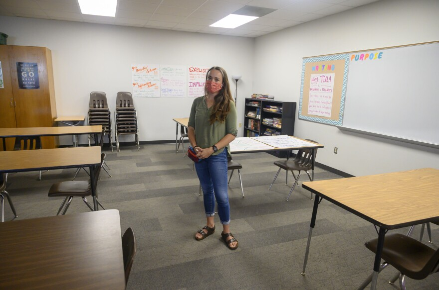 Andrea Ward is an eighth grade teacher in suburban Des Moines. She says she's been really nervous about returning to teach during a pandemic.