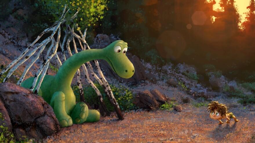 An Apatosaurus named Arlo meets a human boy on his adventures in <em>The Good Dinosaur</em>.