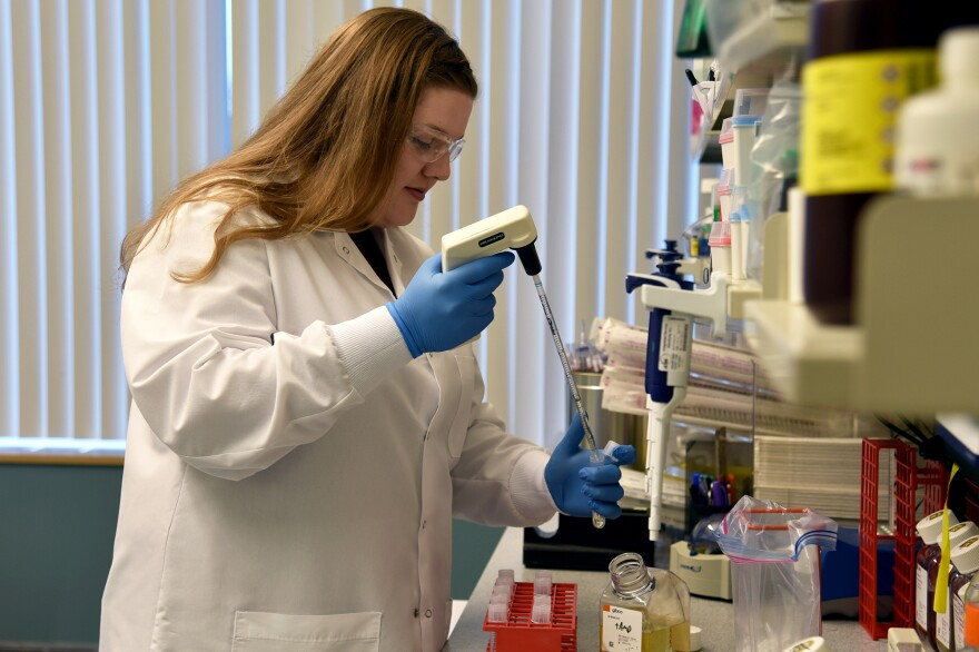 Regeneron Pharmaceuticals, headquartered near Tarrytown, N.Y., is just one of the companies now working to identify and reproduce large quantities of antibodies that could prevent or treat COVID-19. Senior R&D Specialist Kristen Pascal works on COVID-19 research for Regeneron.