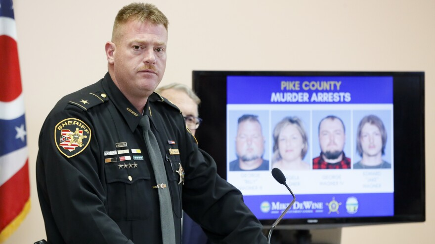 Pike County Sheriff Charles Reader announces arrests in the 2016 slayings of eight family members in rural Ohio.