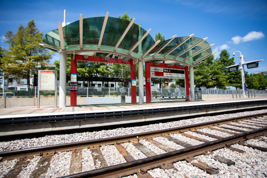 Capital Metro's MLK Jr. rail station is next to the Platform apartment complex in East Austin.