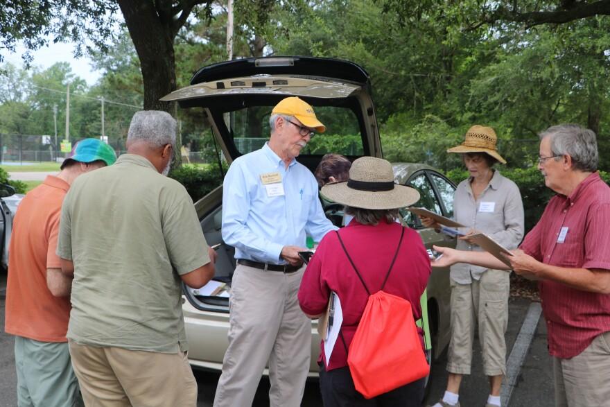Bob Rackleff and others prior to going door to door registering people to vote.