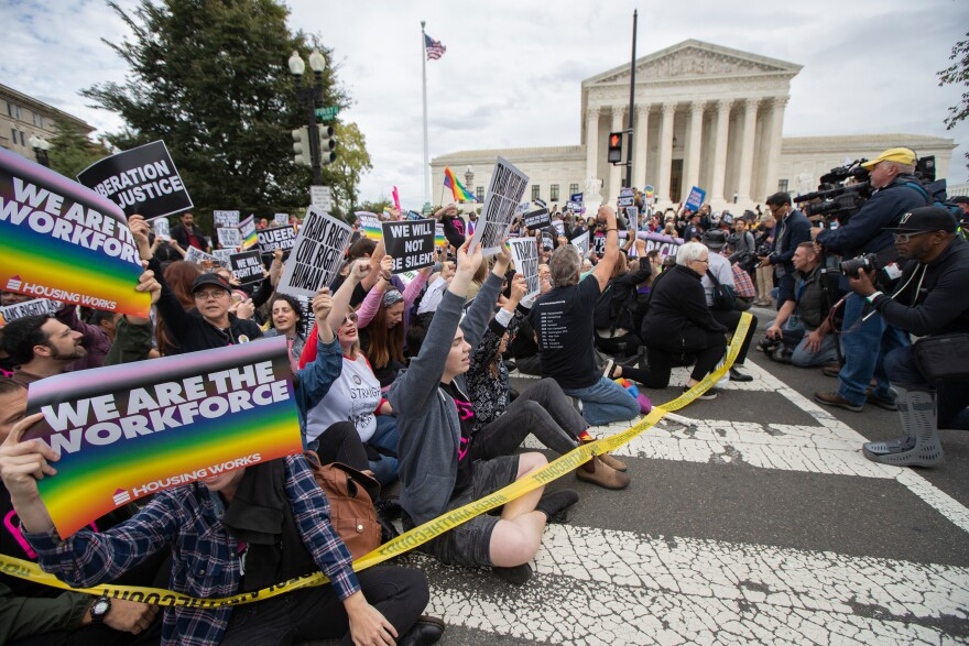 Supporters of LGBTQ rights took to the street in a demonstration in front of the U.S. Supreme Court last October.