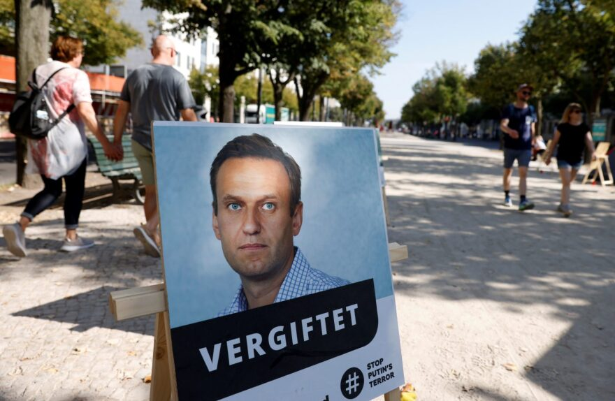 "A poster with a picture of Russian opposition leader Alexei Navalny with the headline ""poisoned"" is seen outside the Russian embassy on Unter den Linden in Berlin during an anti-government protest."