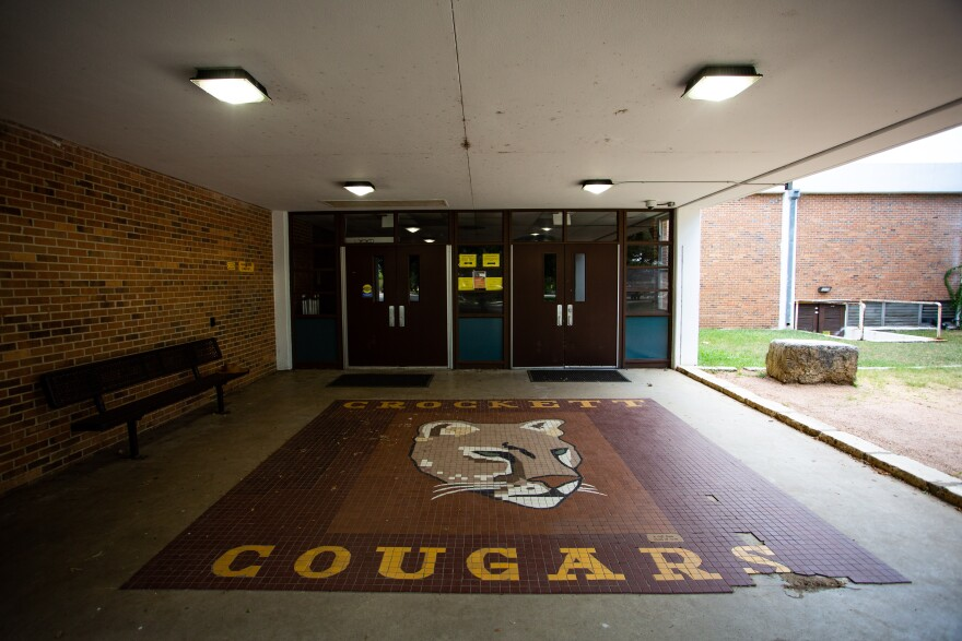 Crockett High School in South Austin during the coronavirus pandemic. Austin ISD is planning to bring some students back to school buildings in October.