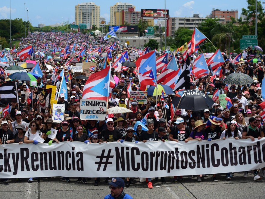 Thousands of Puerto Ricans gather for what many are expecting to be one of the biggest protests ever seen in the U.S. territory, with irate islanders pledging to drive Gov. Ricardo Rosselló from office.