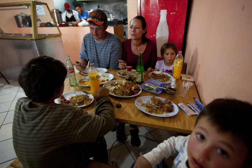 """The Ball family eats at Miguel Angel Luna's Chinese restaurant """"El Pandita Asiatico Express,"""" in Palomas, Mexico."""