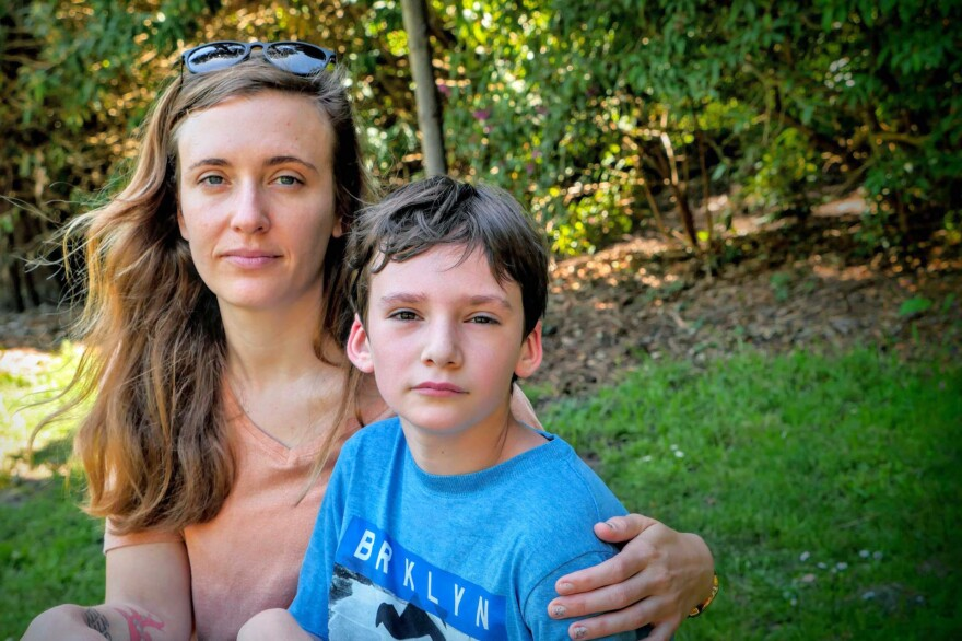 """Natalie Dunnege's son, Strazh, has autism. """"He's really a good kid,"""" Dunnege says, """"But it's a lot to handle, especially as a single parent."""""""