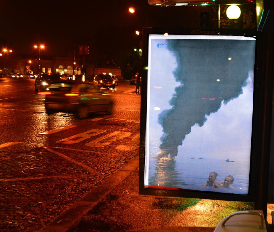 An image of President Obama and his daughter is juxtaposed with an image of a burning oil spill.